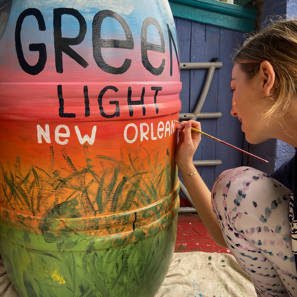 Green Light New Orleans barrel volunteer artist