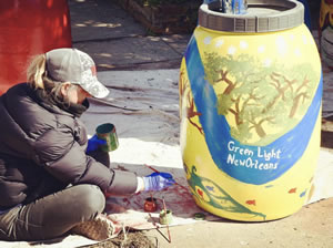Green Light Rain Barrel Painting